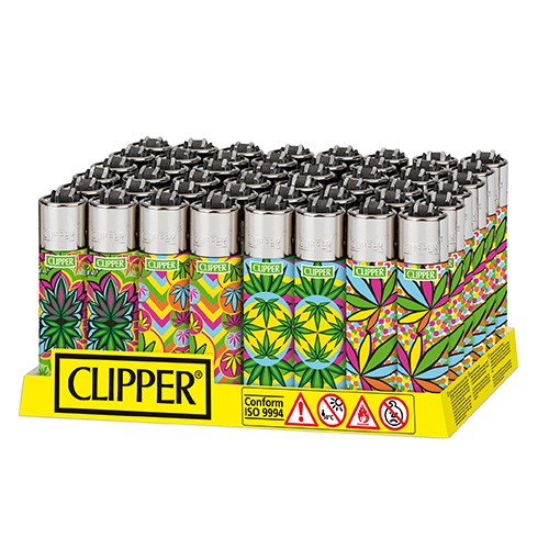 Mechero Clipper Fluo Leaves 2 CP11R 48 uds  ()